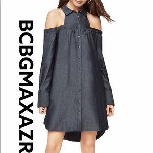 BCBG Rowan Cold-Shoulder Shirt Dress